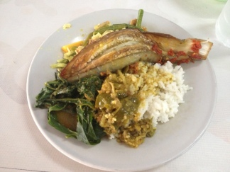 $1 Lunch- Eggplant, Greens, Chilly Sauce & Young Jackfruit!