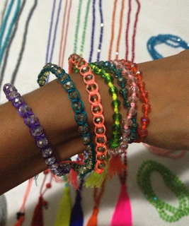 Crystal Bead & Nylon Thread Bracelets