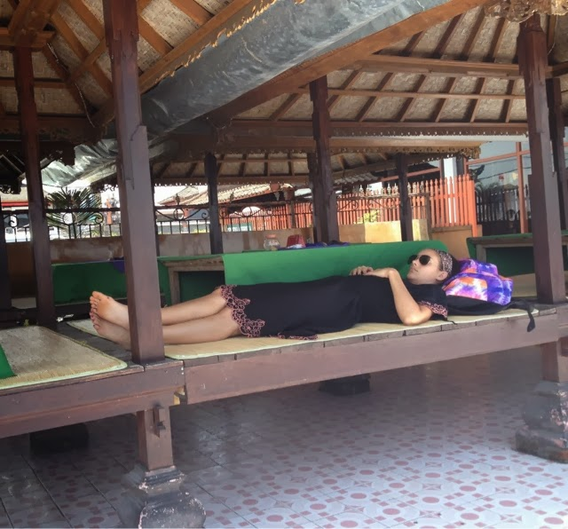 Patricia Resting After Our Climb