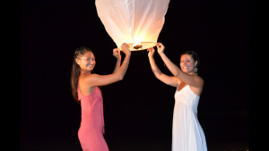 Julie and I in Bali making wishes together.