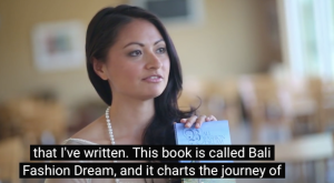 Introducing the book in the interview.