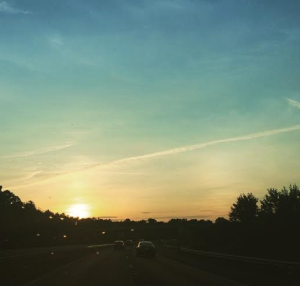Driving into the sunset in Baltimore.