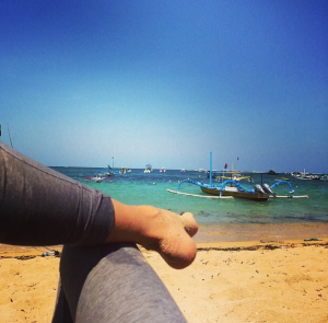 Relaxing after beach trek in Sanur