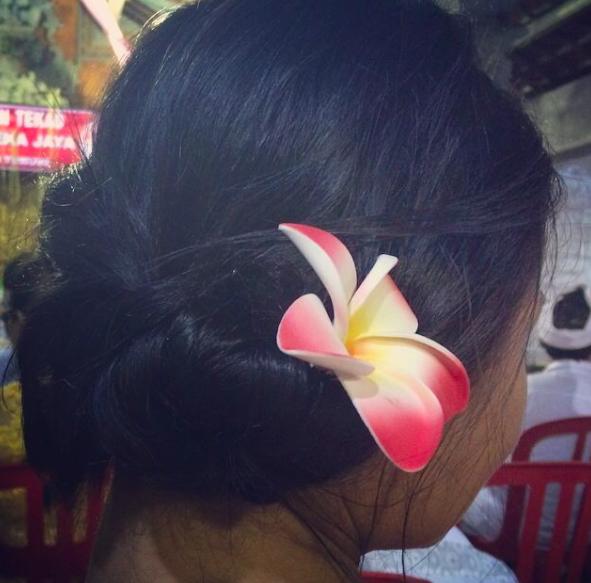 Hair twist by my friend Gung Eva. She let me borrow her traditional dress called a Kebaya.