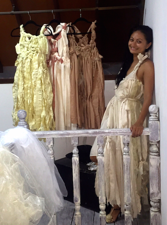 Wearing the first complete dress from the new collection. Other 3 in the background.