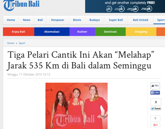 Featured in Tribune Bali. When we succeed we will be the first women to cover the circumference of Bali by foot. All 535K of it.