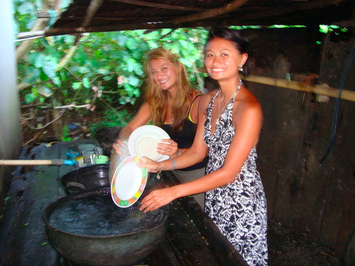 My sister and I visited about 5 years ago. Washing the dishes by the stream.